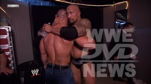 The Rock and John Cena backstage at Wrestlemania