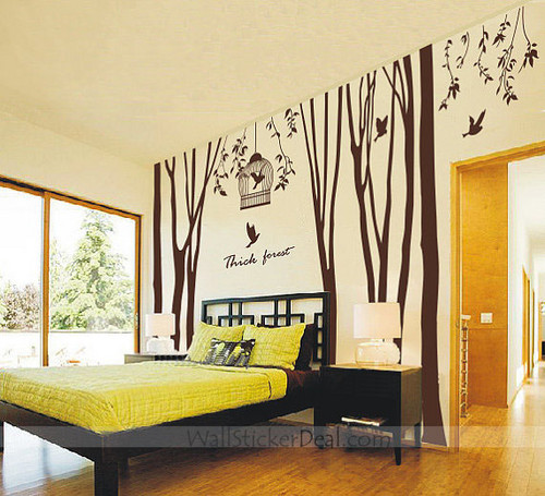 Thick Forest درخت and Birds دیوار Sticker