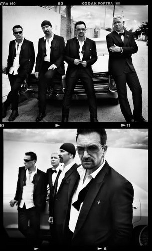 U2 wolpeyper containing a business suit, a suit, and a dress suit entitled U2 (GQ Magazine)