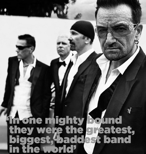 U2 wallpaper containing a business suit and a suit called U2 (GQ Magazine)