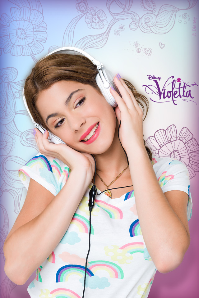 Violetta with Headphones iPod Wallpaper