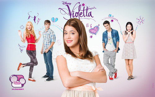 Violetta wallpaper with a bridesmaid, a dinner dress, and a cocktail dress titled Violetta Cast Wallpaper