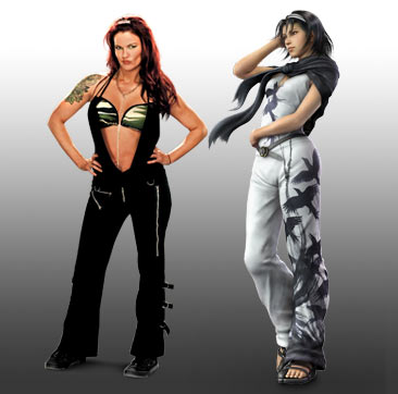 "Amy ""Lita"" Dumas wallpaper with a playsuit, tights, and long trousers titled WWE Tekken Fantasy Pairings: Lita"