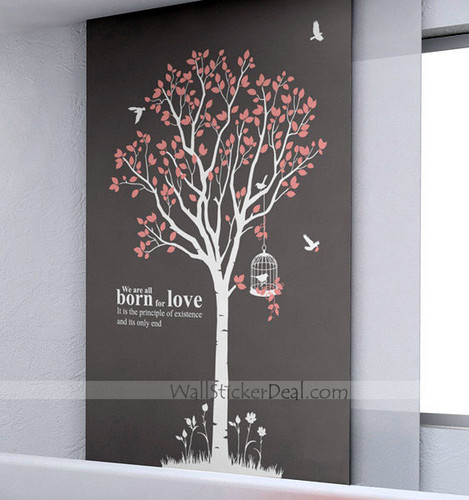 We Are All Born For Love درخت with Birds دیوار Sticker