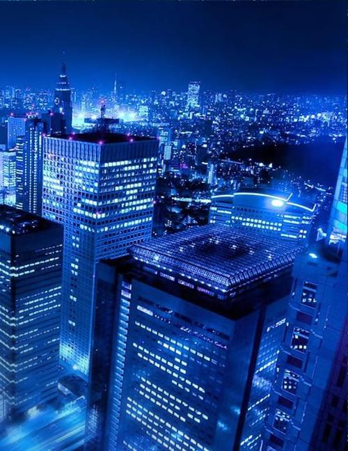 blue city lights