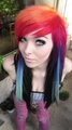 emo girl, ira vampira, scene queen, colorful hair, purple blue rosa, -de-rosa green red black hair, coontails,