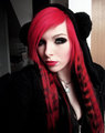 emo girl, ira vampira, scene queen, colorful hair, purple blue pink green red black hair, coontails, - emo photo