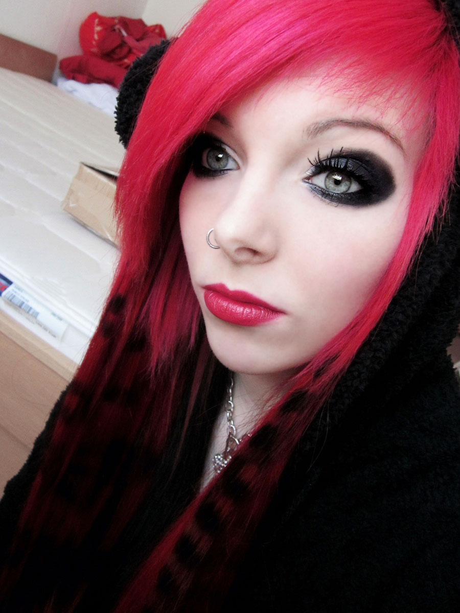 Final, sorry, Black emo girl with red hair sorry