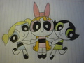 my drawing of the powerpuff girls :D