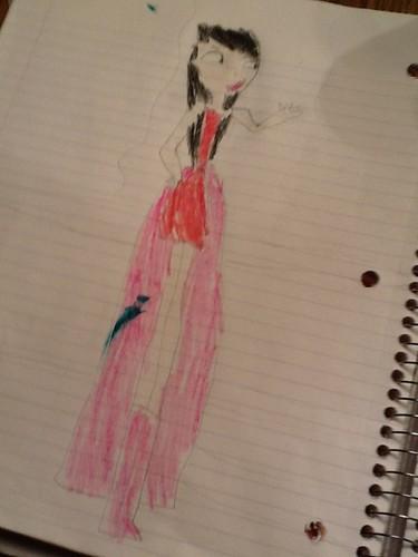 my free-hand sketch of Heather's prom dress...