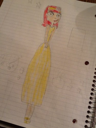 my free-hand sketch of Zoey's prom dress...