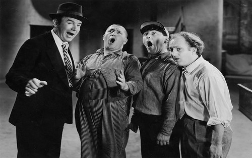 Three Stooges wallpaper with a business suit called the three stooges