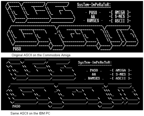Illustration of the difference in look of ASCII art on the Commodore Amiga versus on the IBM PC