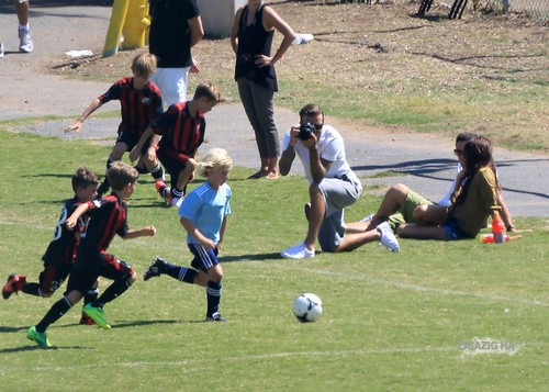Sept. 23rd - LA - The Beckhams watching the boys play putbol