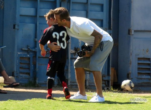 Sept. 23rd - LA - The Beckhams watching the boys play Bola sepak
