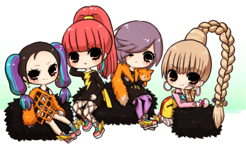 DARA 2NE1 Hintergrund containing Anime called 2ne1 cute cartoon