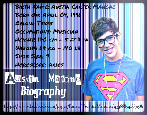Austin Mahone kertas dinding with a sign called Austin Mahone Biography