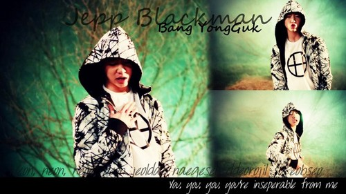 Bang Yong Guk wallpaper possibly containing a sign, a hood, and a cloak titled Bang Yong Guk