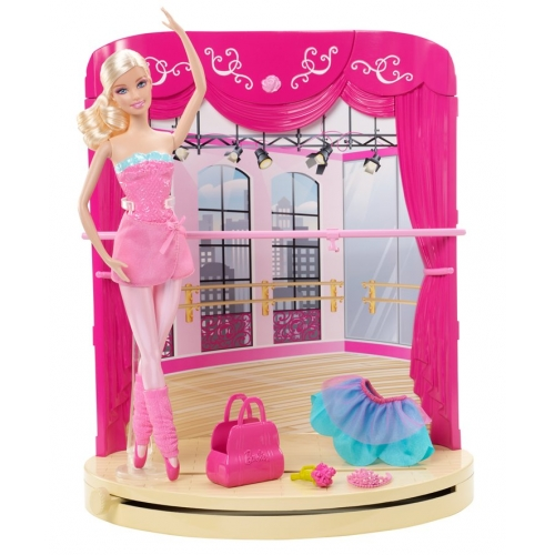Barbie in the kulay-rosas Shoes - Ballet Studio playset