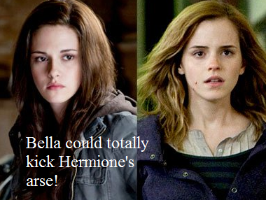 Harry Potter Vs. Twilight wallpaper with a portrait titled Bella could beat Hermione