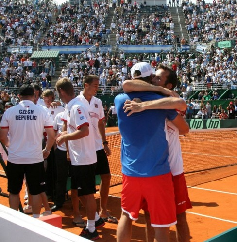 Berdych and Stepanek embrace