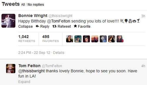 Bonnie Wright Tweet Happy Birthday To Tom Felton