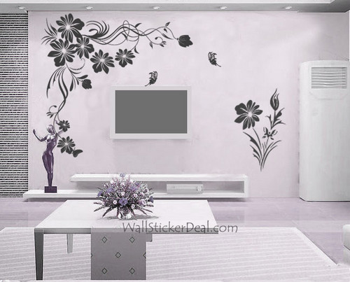 Home Decorating wallpaper called Branches Flower With Butterfly Wall Stickers