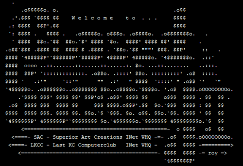 Closed Society 2 ASCII Screen Shot from Wikipedia