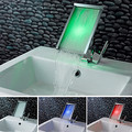 Contemporary Color Changing LED Waterfall Bathroom Sink Faucet
