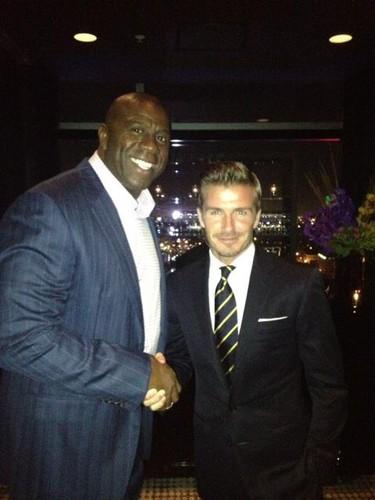 David Beckham and Magic Johnson