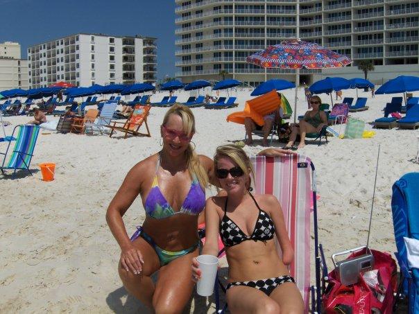 Debra on the beach in 2009