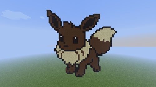 Minecrat Pixel Art! Hintergrund containing a triceratops called Eevee