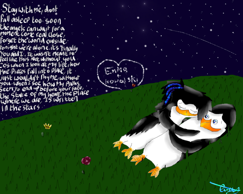 Emma and Kowalski under the stars. :3
