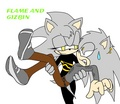 Flame holding Gizbin the hedgehog XD