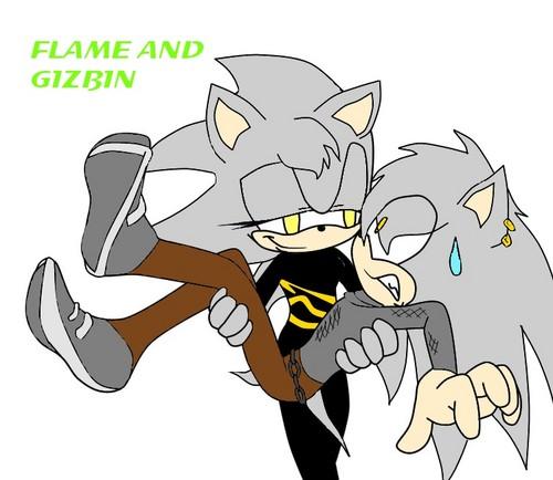 Flame holding Gizbin the hedgehog XD