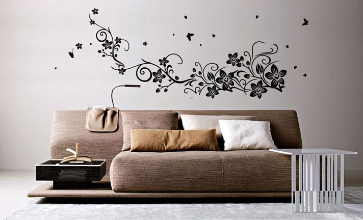 Wall Sticker For Home Decor : Flower vine with fly butterfly wall sticker home