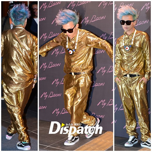 G-Dragon dresses in all ゴールド for Ambush launch party in Gangnam