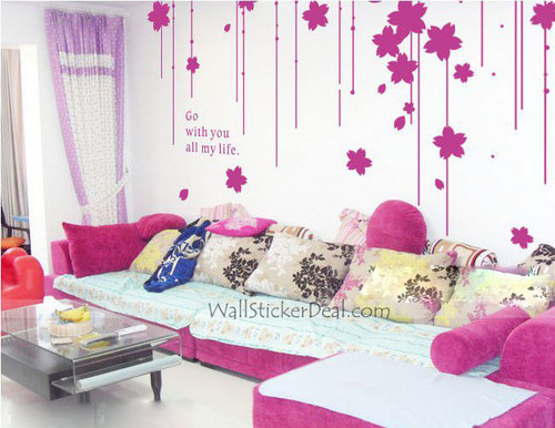 Go With bạn All My Life hoa Curtain tường Stickers