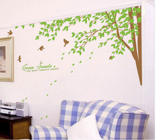 Главная Decorating Обои containing a living room, a family room, and a логово, ден called Green Sonata дерево With Birds Стена Sticker