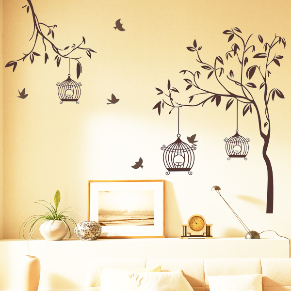 Wall Sticker For Home Decor : Happy street lights birds with tree wall sticker home
