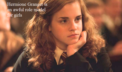 Harry Potter Vs. Twilight wallpaper with a portrait titled Hermione is an awful role model