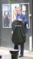 Hugh Laurie is seen exiting a tuxedo rental ショップ on Grafton 通り, ストリート 19.09.2012