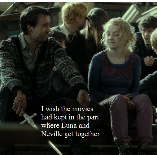 I with the filmes kept Neville and Luna's relationship