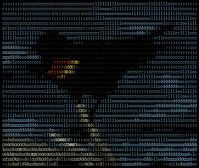 Image of bird converted to ASCII characters and colorized with HTML from Wikipedia