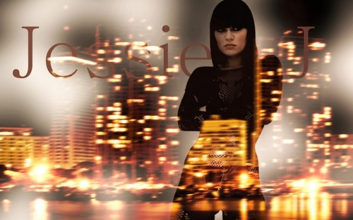 Jessie J achtergrond probably containing a street, a business district, and a hip boot called Jessie J