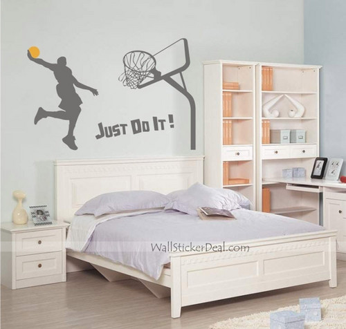 Главная Decorating Обои containing a bedroom, a hotel room, and a bedroom furniture called Just Do It Dunk баскетбол Стена Stickers