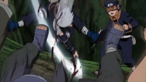 Kakashi saving Obito