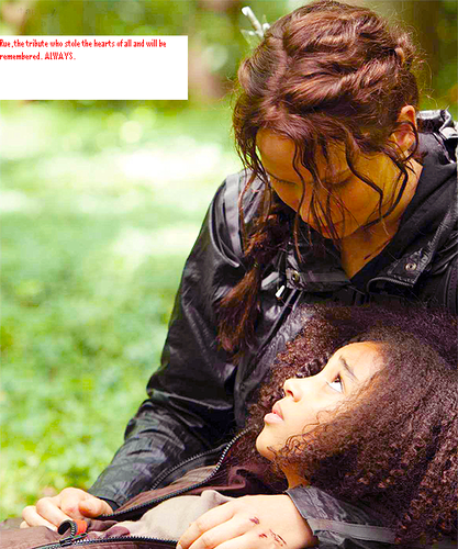 Katniss sings Rue to death.