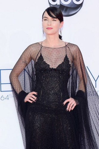 Game of Thrones wallpaper possibly with a cocktail dress and a kirtle called Lena Headey @ 2012 Emmy Awards