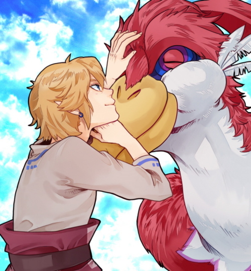 Link and his Crimson Loftwing